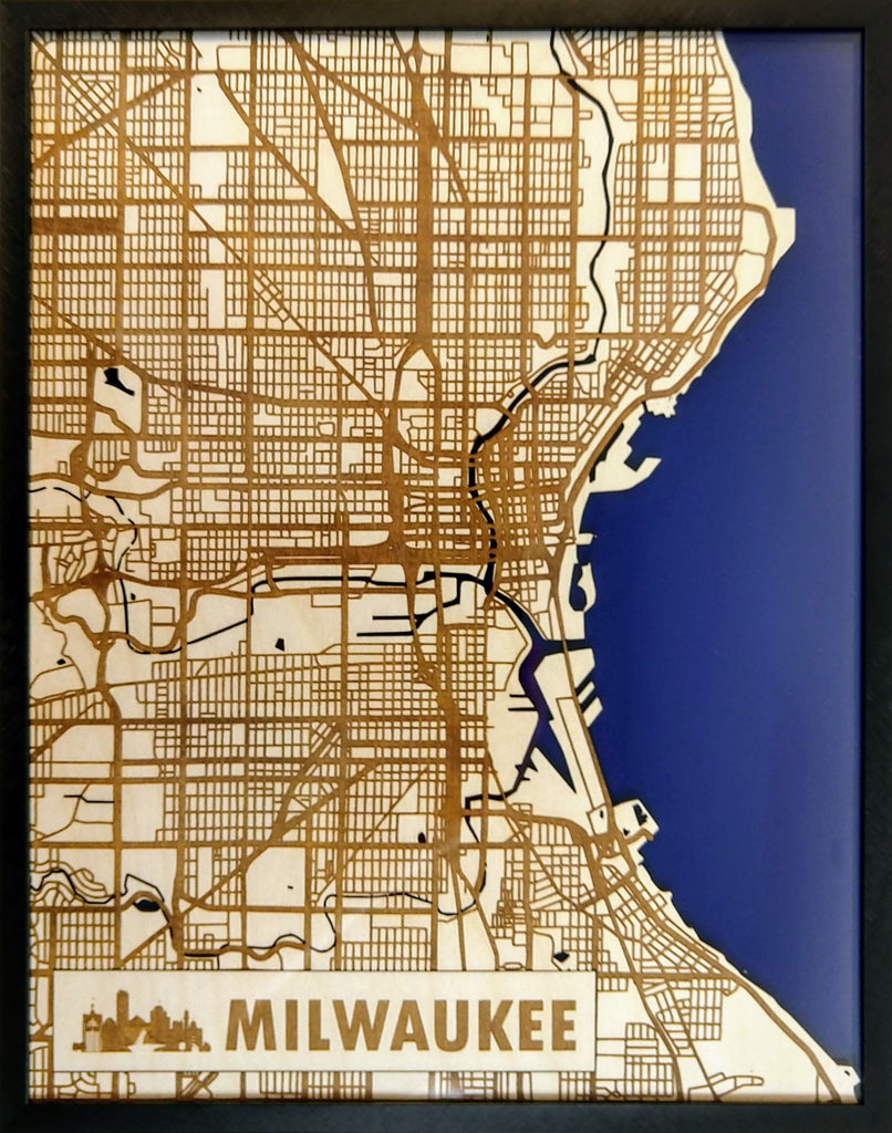 Milwaukee Wisconsin 3D Wooden Map