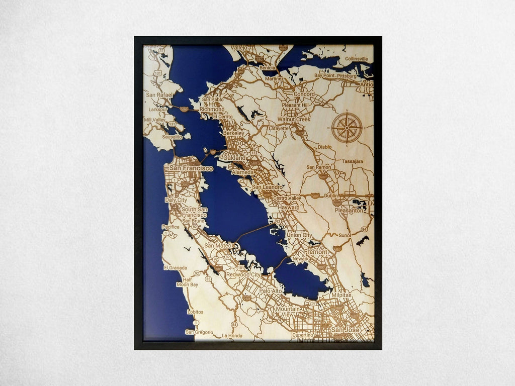 San Francisco Bay California 3D Wooden Map