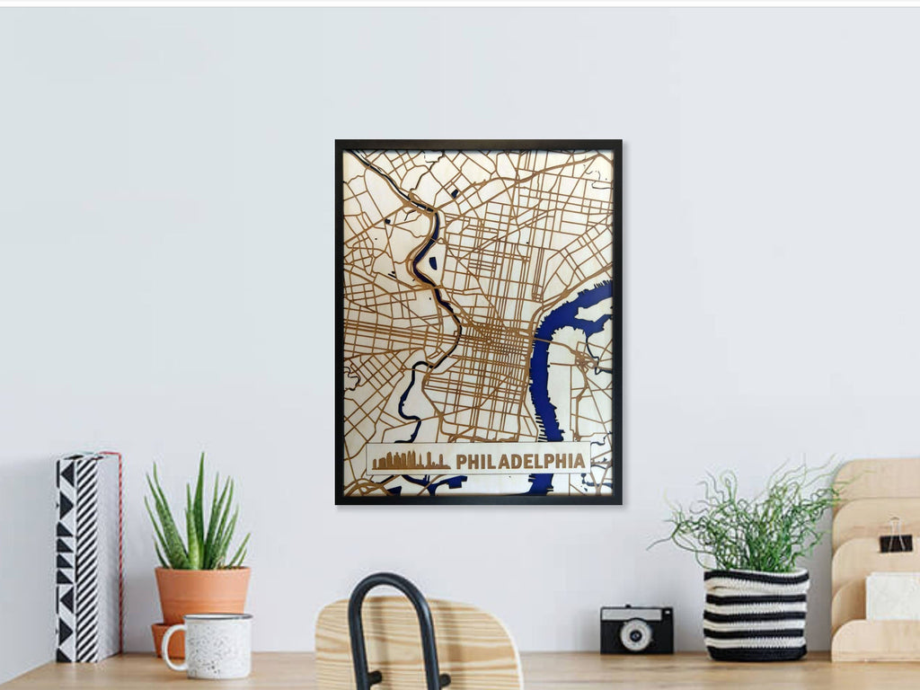 Philadelphia Pennsylvania 3D Wooden Map