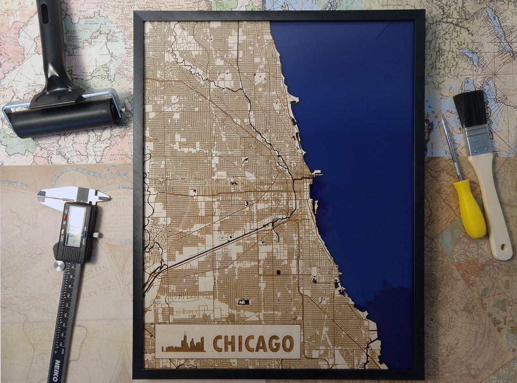 Chicago Illinois 3D Wooden Map