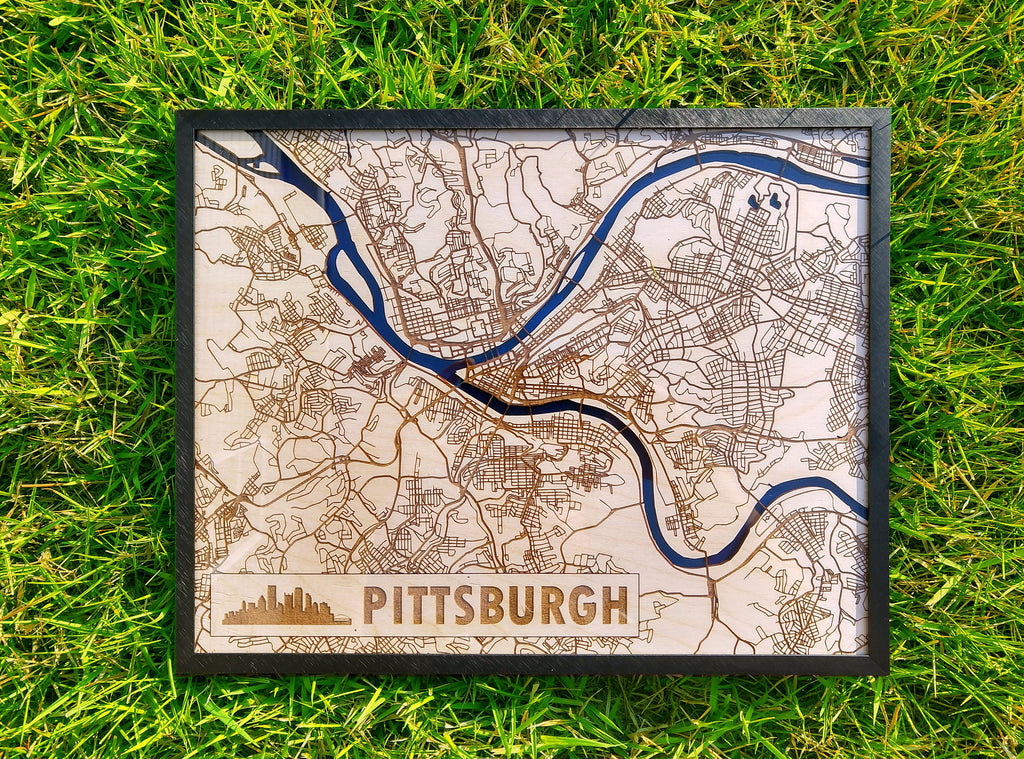Pittsburgh Pennsvylania 3D Wooden Map
