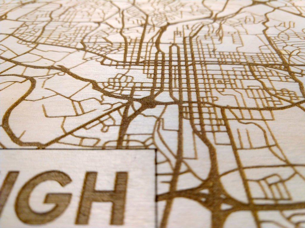 Raleigh North Carolina Rustic Wooden Map