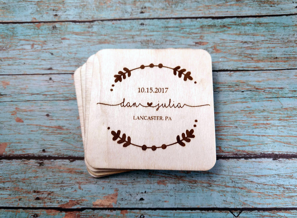 Engraved wood coaster set