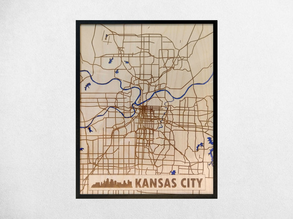 Kansas City Missouri 3D Wooden Map