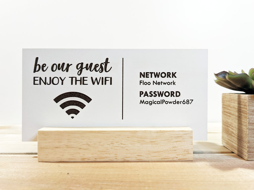 Wood Mini Wifi Password Sign