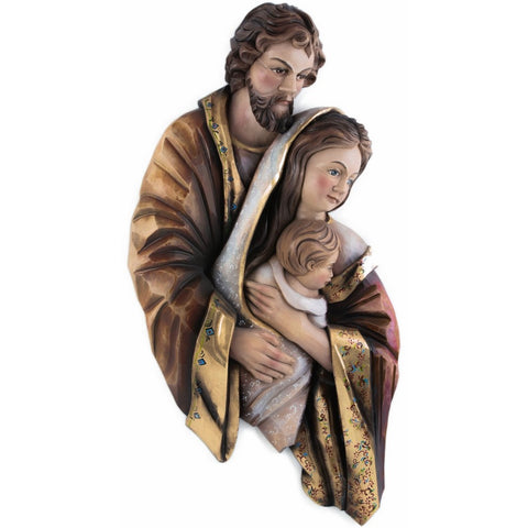 Holy Family - Heart and Home - Painted embroidery (model 11) - Sacred sculpture - RzezbawDrewnie.pl - Viktor-Art