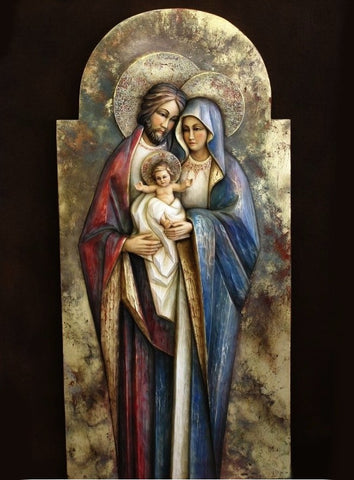 Holy Family - Heart and Home - Byzantium (Model 4) - Gold - Mega-grandeur - Sacred sculpture - RzezbawDrewnie.pl - Viktor-Art