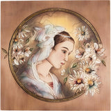 Engraved picture made of wood - Portrait of a Woman (model 2) - Decorative sculpture - RzezbawDrewnie.pl - Viktor-Art
