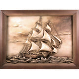 Ship - sailing yacht - linden wood - hand carved picture - Large size - Decorative sculpture - RzezbawDrewnie.pl-Viktor-Art