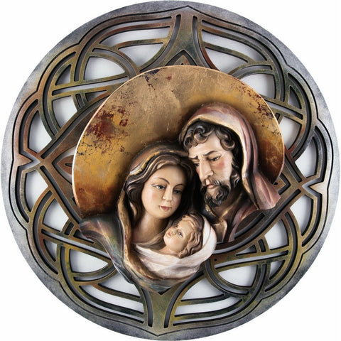 Holy Family - Heart and home - Moon - Openwork background (Model 9) - Silver-Sacred Sculpture-RzezbawDrewnie.pl-Viktor-Art