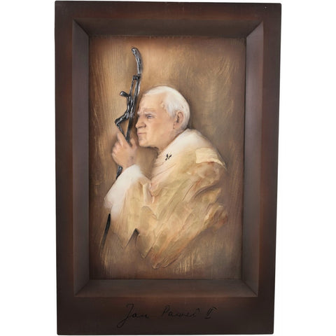 Pope - John Paul II - Engraved original Signature-Sacred sculpture-RzezbawDrewnie.pl-Viktor-Art