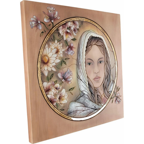 Engraved picture made of wood - Portrait of a Woman (model 3) - Decorative sculpture - RzezbawDrewnie.pl - Viktor-Art