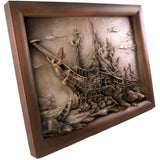 Ship - Frigate wreck - linden wood - hand carved photo - Large size - Decorative sculpture - RzezbawDrewnie.pl -Viktor-Art