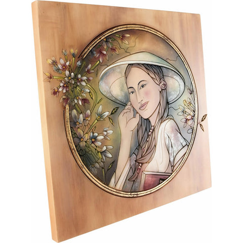 Engraved picture made of wood - Portrait of a Woman (model 6) - Decorative sculpture - RzezbawDrewnie.pl - Viktor-Art