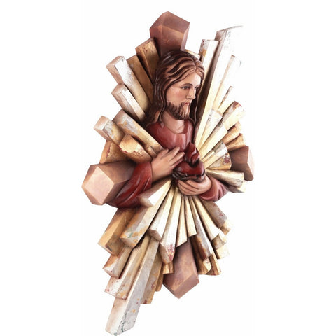 Jesus Christ - Heart of Mercy-Sacred sculpture-RzezbawDrewnie.pl-Viktor-Art