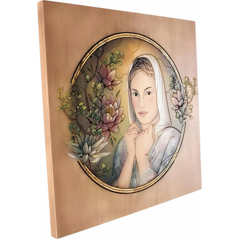 Engraved picture made of wood - Portrait of a Woman (model 5) - Decorative sculpture - RzezbawDrewnie.pl - Viktor-Art