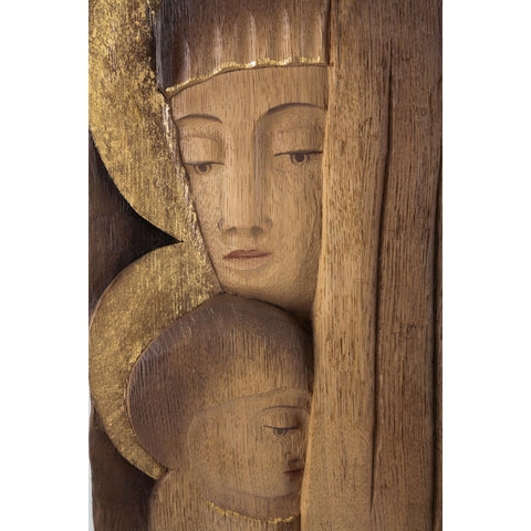 Saint Mary with the Child Jesus - Iconic style - Oak-Sacred sculpture-RzezbawDrewnie.pl-Viktor-Art