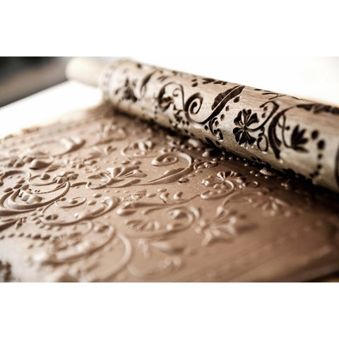 Gingerbread mold - Rolling pin (model 3 - Flowers) - Cookie molds-RzezbawDrewnie.pl-Viktor-Art