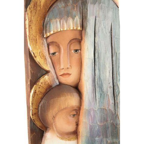 Saint Mary with the Child Jesus - Iconic style-Sacred sculpture-RzezbawDrewnie.pl-Viktor-Art