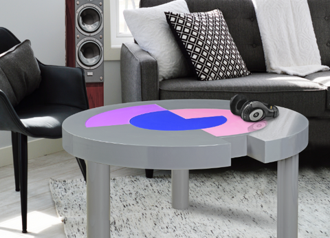 Coffee Table - 'Espressivo' - Wood & Glass-Functional Sculpture-RzezbawDrewnie.pl-Viktor-Art