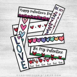 Valentine Colorable Bookmarks