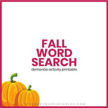 Load image into Gallery viewer, Fall Word Search