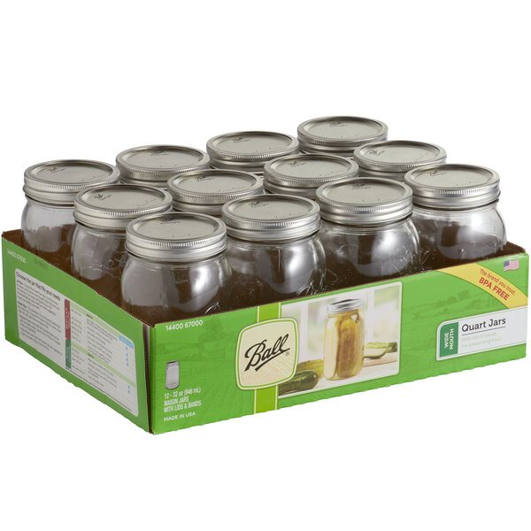 Ball 67000 32 oz. Quart Wide Mouth Glass Canning Jar with Silver Metal Lid and Band - Bulk - 12/Case