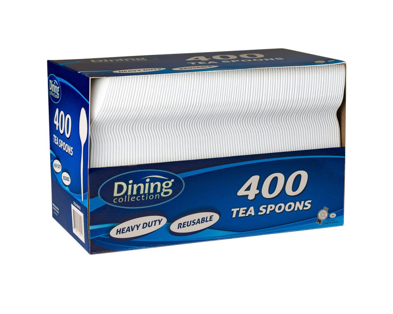 Fantastic dining Collection Teaspoons (Box) - White Plastic - 400 ct.