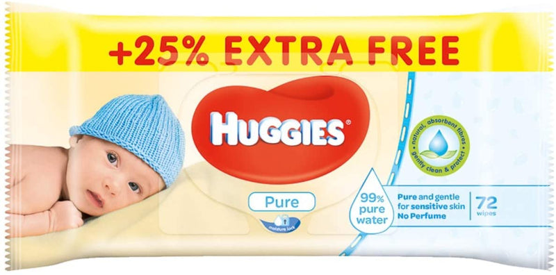 Huggies Pure Baby Wipes, 72 Count