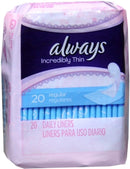 Always Thin Pantiliners Regular Unscented 20 ct