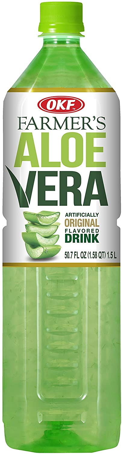 OKF Farmer's Aloe Vera Drink, Original, 1.5 Liter (Pack of 12)