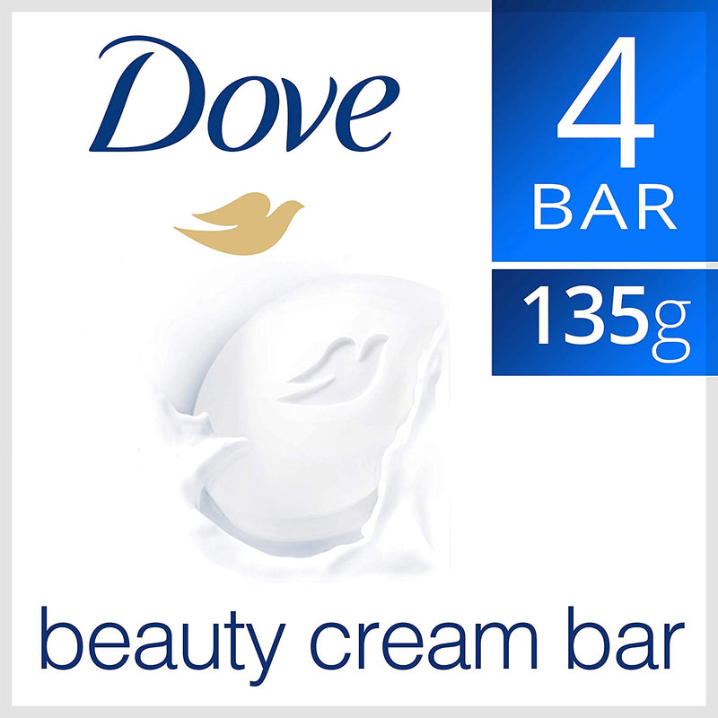 Dove Moisturising Beauty Cream Bar Soap White, 135g - (Pack Of 4)