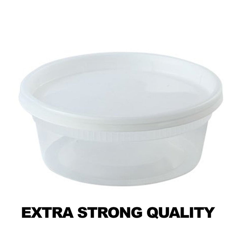 PACK OF 10 - EXTRA STRONG QUALITY DELI CONTAINER WITH LIDS 8 OZ