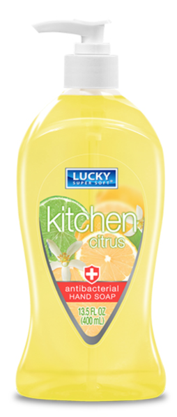 Lucky Antibacterial Hand Soap 13.5oz Kitchen Citrus 400ML