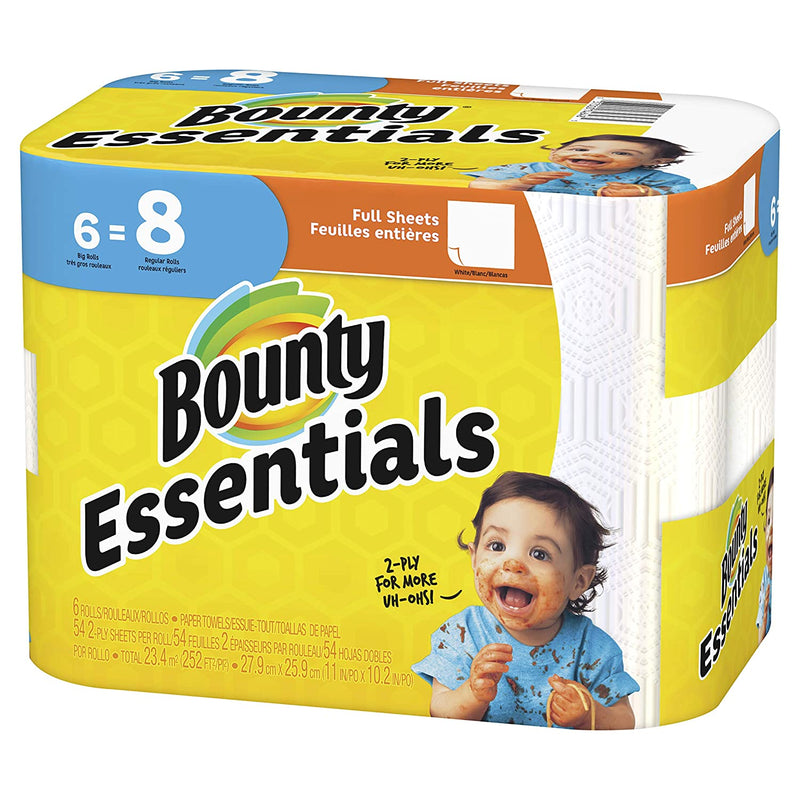 Bounty Essentials Paper Towels, Print, 6 Big Rolls = 8 Regular Rolls, Prime Pantry
