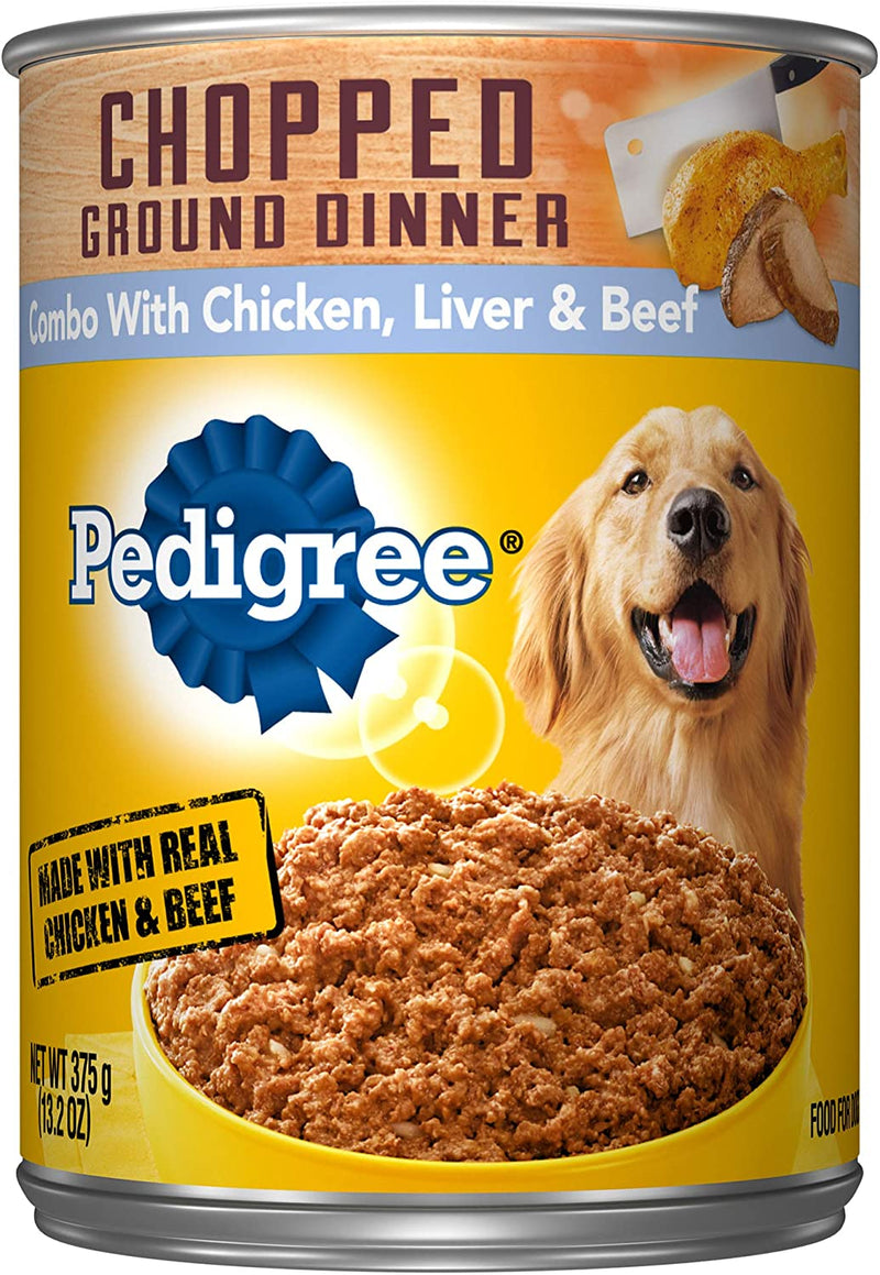 PEDIGREE Chopped Ground Dinner Wet Dog Food, 13.2 oz. Can. Chicken, Liver & Beef
