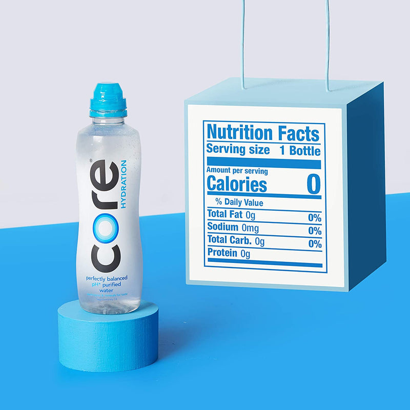CORE Hydration, Nutrient Enhanced Water, Perfect 7.4 Natural pH, Ultra-Purified With Electrolytes and Minerals, Cup Cap For Sharing, 44 Fl Oz