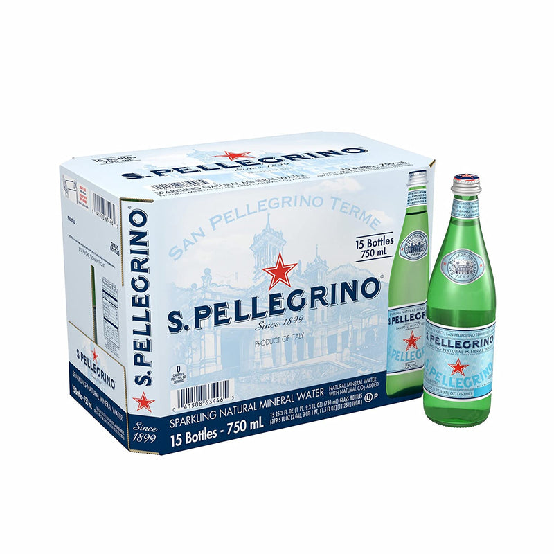 S.Pellegrino Sparkling Natural Mineral Water, 25.3 fl oz. Glass Bottle