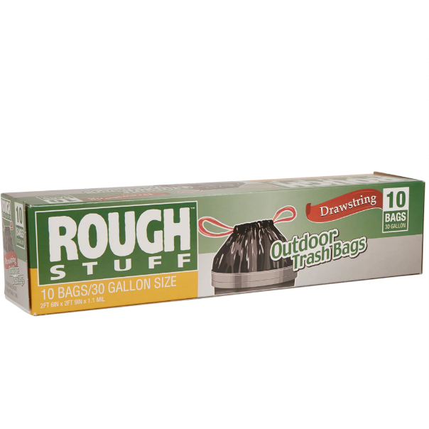 Rough Stuff 30 gal Outdoor Trash Bags with Drawstring, 10 ct