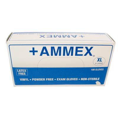 AMMEX Vinyl Latex Free Medical Disposable Gloves, X-Large, Clear, 100/Case