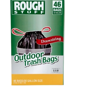 Rough Stuff 30 gal Outdoor Trash Bags with Drawstring, 45 Count