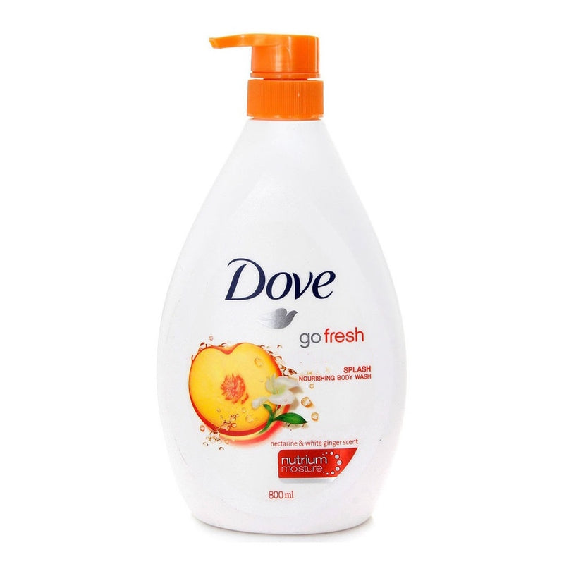 Dove Go Fresh Splash Nourishing Body Wash Pump, Nectarine and White Ginger Scent,800ml