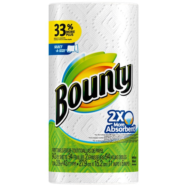 Bounty Paper Towels, White, 1 Regular Roll Towels/Napkins