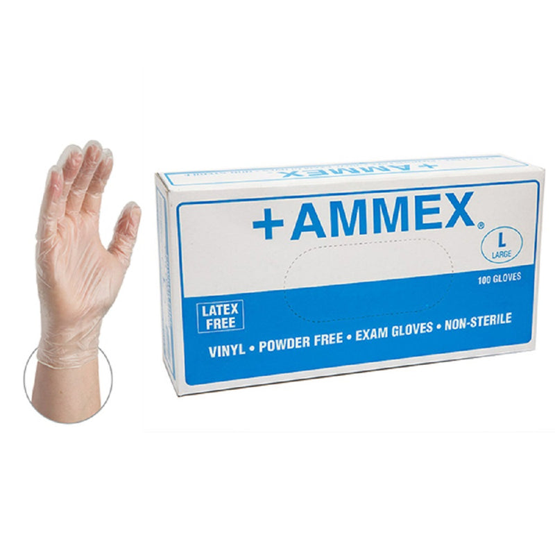 AMMEX VINYL GLOVES POWDERED LARGE 10/100-CT