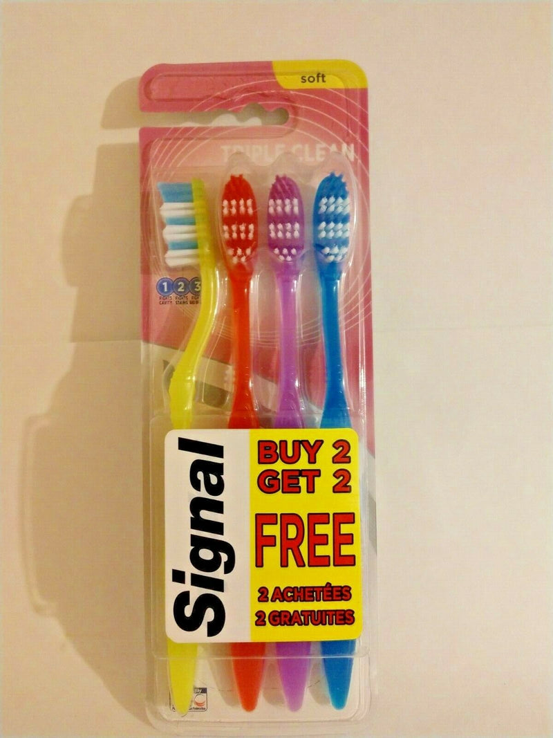 Signal Triple Clean Soft Bristle Toothbrush, 4-brushes Yellow Red Blue Purple