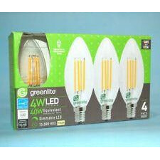 Greenlite, NEW 4PK LED Candelabra Bulb B10 Clear Filament Style 4W Dimmable 40W Equivalent