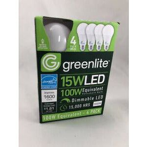 Greenlite LED, 4 Pack, 15W, 100 Watt Equivalent A Type, Light Bulbs, 5000K, Dimmable