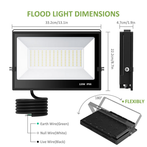 2 Pack 120W LED Flood Lights, Daylight White, 12000LM