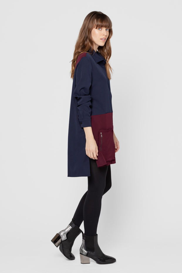 Navy and Purple Pacey Colorblock Dress