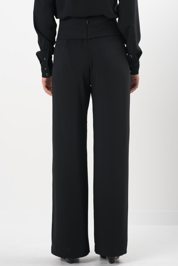 Black Crepe Avani Wide Leg Pants
